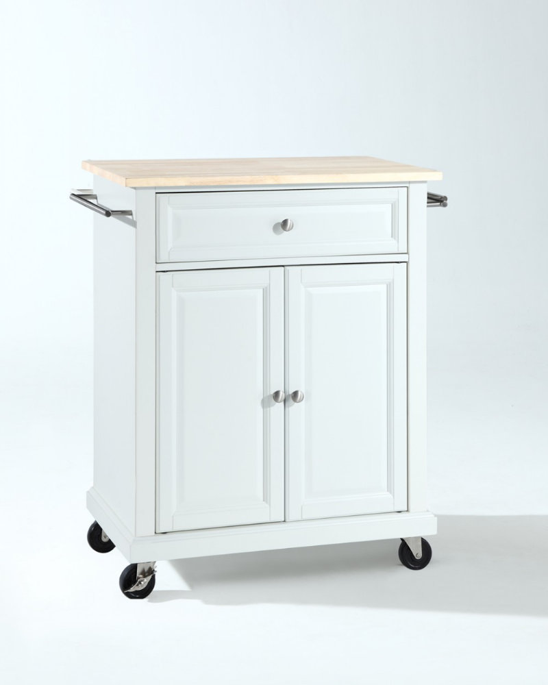 furniture 28x18 natural wood top portable kitchen cart island in white